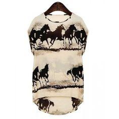 $19.29 Fashionable Round Neck Horse Pattern Short Sleeve Women's T-Shirt