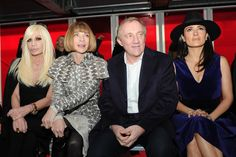 Donatella Versace, Anna Wintour, Francois-Henri Pinault, Salma Hayek Front Row at Christopher Kane [Photo by Nazarin Montag]