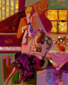 Alfa img - Showing > Sabzi Artist Painting with Two Musicians Woman Painting, Artist Painting, Shape And Form, Love Art, Color Patterns, Backdrops, Aurora Sleeping Beauty, Art Gallery, Shapes