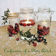 Take a Mason jar, add candles, cranberries and some boxwood sprigs and… :: Hometalk