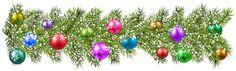 Christmas Pine Branches and Christmas Balls PNG Clip Art Image