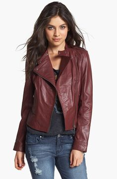 Collection B Leather Moto Jacket (Juniors) | Nordstrom