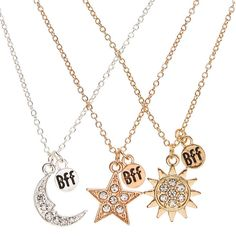"""Best Friends Celestial Pendants Necklaces: """"You and your bestie's bond shines bright. Show off that special bond with this trio of best… Bff Necklaces, Best Friend Necklaces, Friend Bracelets, Best Friend Jewelry, Bff Gifts, Best Friend Gifts, Gifts For Friends, Cute Jewelry, Jewelry Accessories"""