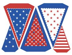 free printable red, white and blue pennants