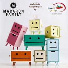 Have you heard of Macaron Family? Meet our friends Ted, Joy and Bill. These friendly faces will store toilet paper or kitchen towels in the cutest way! Indian Furniture, Colorful Furniture, Kids Furniture, Kitchen Furniture, Woodworking Courses, Kiosk Design, Bamboo Design, Inexpensive Furniture, Kids Storage