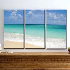 Ocean of Love- Beach, Sand, Sky, Waves, Tropics - Triptych 3 Panel Canvas Art - READY TO HANG