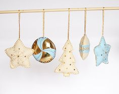 Felt Christmas tree ornament, home decor -in gold, ivory n pastel blue- set of 5 for $40.00 at etsy.com