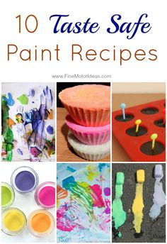 Lean fine motor skills with these 10 taste safe homemade paint recipes for kids of all ages - baby, toddler, preschooler and up! Activities For 1 Year Olds, Craft Activities For Kids, Toddler Activities, Crafts For Kids, Learning Activities, Arts And Crafts Projects, Projects For Kids, Painting For Kids, Children Painting