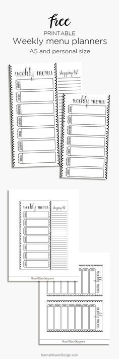 Weekly menu planner for A5 and personal planners | printables |