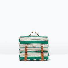 STRIPE PRINT FABRIC  BACKPACK from Zara