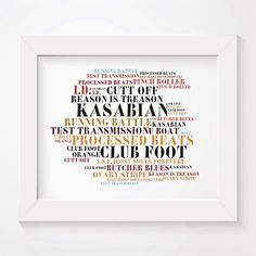 Kasabian limited edition typography lyrics art print, signed and numbered album wall art poster available from www.lissomeartstudio.com