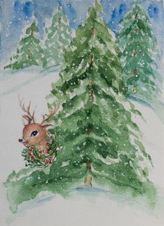 Merry Christmas and Happy New Year Card, Christmas Watercolor, Happy new year card, unique holiday card, Original Watercolor, aquarelle art
