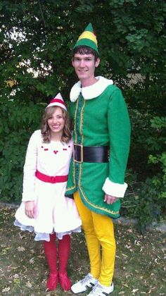 """Buddy the Elf"" Costumes my mother made us for Halloween. Works great for Christmas too!"