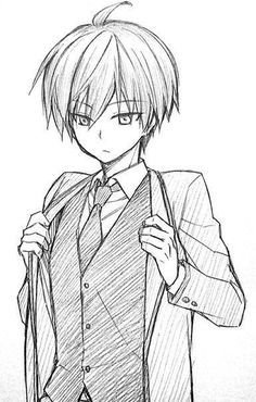 Karma from Ansatsu Kyoushitsu/Assassination Classroom - Anime Drawings Sketches, Anime Sketch, Cute Drawings, Anime Chibi, Kawaii Anime, Manga Art, Anime Art, Karma Kun, Anime Boy Zeichnung