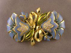 Vintage Coro Duette Enameled Blue Rhinestone Flowers 2 Clips Make 1 Brooch   eBay