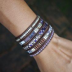 Mauve mix beaded Wrap bracelet Bohemian bracelet by G2Fdesign