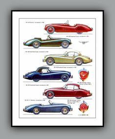 JAGUAR XK Models 1940 to 1958  Poster Print in by southcoaststudio, $12.00