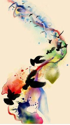 Watercolor birds in flight tattoo