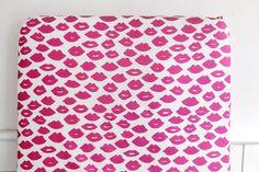 Woolf With Me™ Fitted Crib Sheet in White+Magenta Lip, Baby Girl, Toddler Bedding, Cot Sheet, Pink Lips, Organic, Boho, Modern Nursery