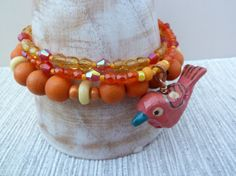 3 Strand Bracelet Orange Bracelet Bird Bracelet by graceofeden, Strand Bracelet, Beaded Bracelets, Orange Bird, Wooden Bird, Gifts For Her, Hand Painted, Jewellery, Etsy, Color