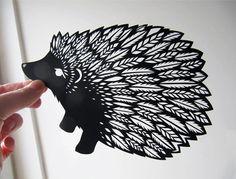 Paper cut hedgehog by Emily Hogarth