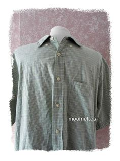 Izod Camp Shirt L Casual Button Front Short Sleeve Light Green Check  Mens Large #IZOD #ButtonFrontCamp