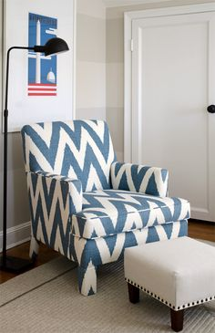 This style of chair and foot stool would look great at our place.   Finnian's Moon D.C. Design House 2012, boy's bedroom, blue, tan, white, stripes, ikat chevron zig zag chair