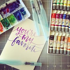 Sneak peek! We'll be making waterbrush lettered greeting cards in my new Skillshare class, coming this Monday!