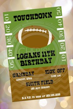 Football Party  50 Birthday Party Invitations by CherishByNoel, $30.00