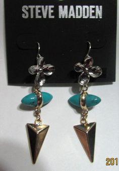 Steve Madden Silver, Gold & Turquoise Flower Spike Earrings NWT  #SteveMadden #DropDangle