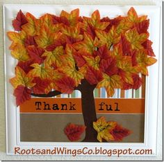 This framed Thankful Tree is so cute! It's perfect for a diy Thanksgiving craft or year round...I need to remember to be thankful for more often!