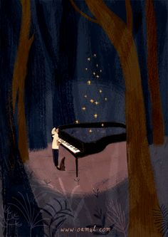 "Piano and dog (GIF) by Oamul ""Music is a storage of memory, when we're in a phase of the cycle of a song, this period of time will turn into a melody."""