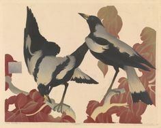 """artistsanimals: """"Title: Magpies Artist: Murray Griffin Date: 1935 Medium: linocut Size: 27.7 × 35.4 cm Source: National Gallery of Victoria """""""
