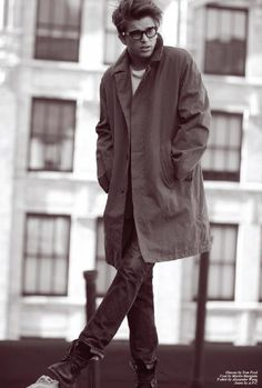 Adentro Style: Ode to River by Michael Brager/ trench coat/ glasses/ black and white