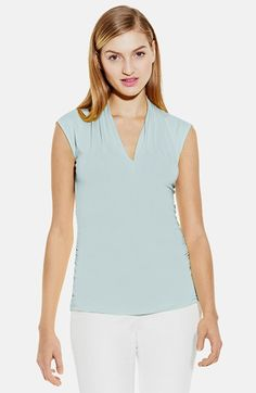 Vince Camuto Cap Sleeve Pleated V-Neck Top | Nordstrom