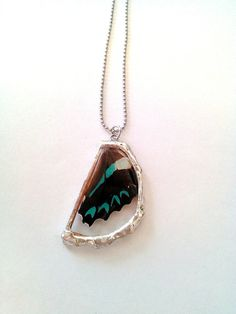Real aqua and brown Butterfly wing necklace by LoveLsJewels