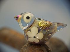 Noah lampwork bird bead sra double helix by DeniseAnnette on Etsy, $10.00