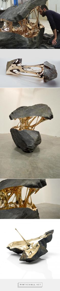 Bisected Boulders With Stretched Bronze Interiors by Romain Langlois | Colossal - created via https://pinthemall.net