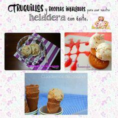 La autora del blog COCINANDO PARA MIS CACHORRITOS se ha propuesto enseñarnos en este post todos los secretos para que aprendamos a hacer helados en casa, tanto con heladera como sin ella. Por supuesto, apunta algunas recetas para que pongamos en práctica todos sus consejos.