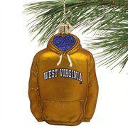 West Virginia Mountaineers Glass Hoodie Ornament