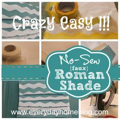 Make a {faux} No-Sew Roman Shade {and Create Your Own Chevron Fabric}