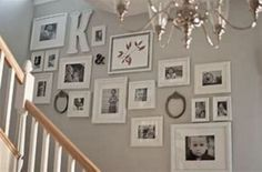 wall displays: Get those photos off your hard drive LOVE LOVE LOVE! Black & white pictures in white frames with white mats. This is perfect! Black & white pictures in white frames with white mats. This is perfect! Frames On Wall, Wall Collage, White Frames, Collage Ideas, Picture Arrangements, Photo Arrangement, Stair Walls, Stairs, Wall Decor