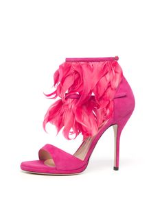 Show-stopping heels fringed with pink feathers by Paul Andrew.