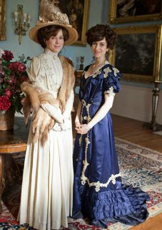Edwardian costumes from TV series Mr Selfridge. Love the over sized hat and the detailing on the dresses.