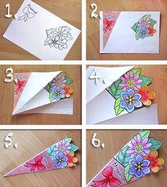 Színezhető, festhető papírcsokor anyák napjára (sablonnal) | Életszépítők