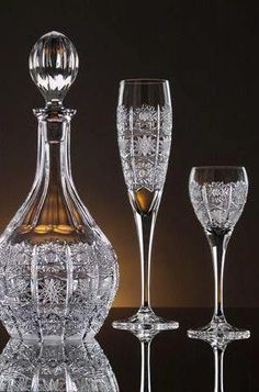 Cut Glass Decanter and Flutes