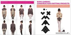 nikki gabriel, construction projects. Large needles, squares joined. Adaptable to crochet. Modular construction.