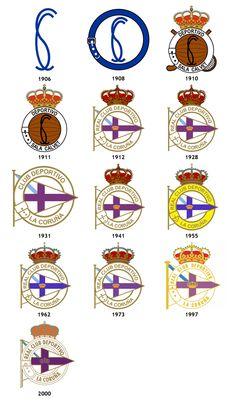 Historial de los escudos del Real Club Deportivo de la Coruña, desde 1.906 al 2.000 Team Mascots, Old Logo, Athletic Clubs, Soccer World, Sports Logos, Football Soccer, Team Logo, Nba, Badge