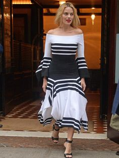 Margot Robbie in Rosetta Getty Arriving at the Tribeca Hotel