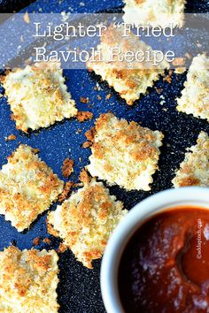 Lighten up your fried ravioli with this delicious recipe you won't feel guilty enjoying so much! This lighter fried ravioli recipe is perfect for an appetizer or side dish! Light Recipes, My Recipes, Snack Recipes, Cooking Recipes, Favorite Recipes, Snacks, Yummy Appetizers, Delicious Desserts, Yummy Food